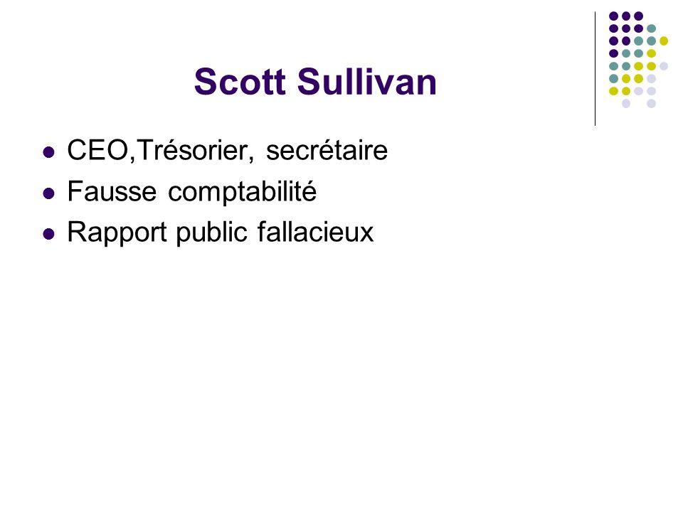 Scott Sullivan CEO,Trésorier, secrétaire Fausse comptabilité Rapport public fallacieux
