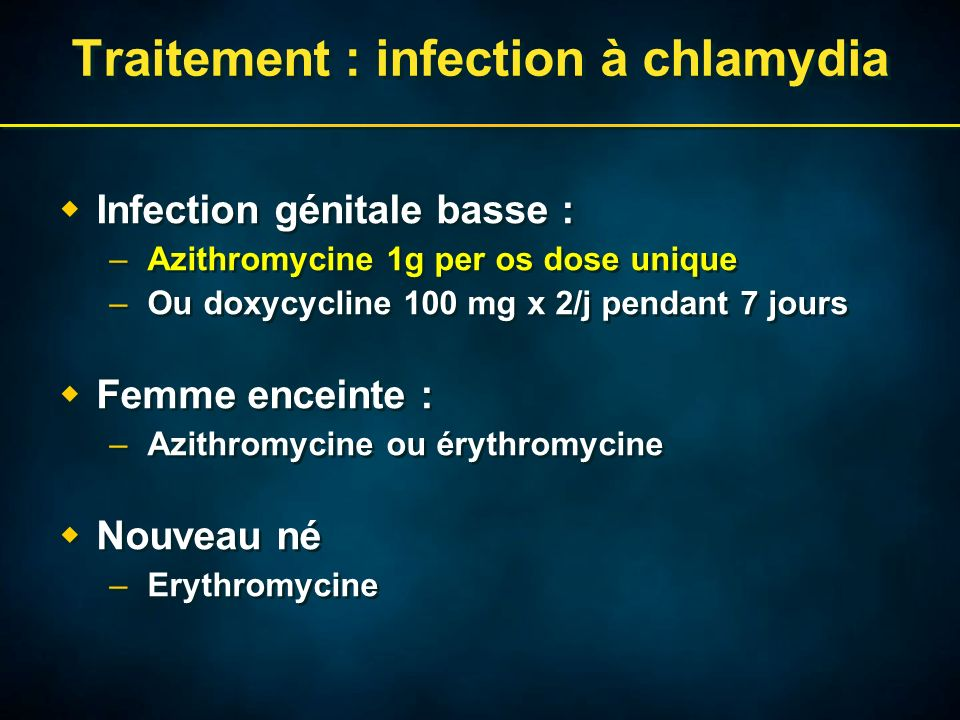 Traitement : infection à chlamydia Infection génitale basse : –Azithromycine 1g per os dose unique –Ou doxycycline 100 mg x 2/j pendant 7 jours Femme enceinte : –Azithromycine ou érythromycine Nouveau né –Erythromycine Infection génitale basse : –Azithromycine 1g per os dose unique –Ou doxycycline 100 mg x 2/j pendant 7 jours Femme enceinte : –Azithromycine ou érythromycine Nouveau né –Erythromycine