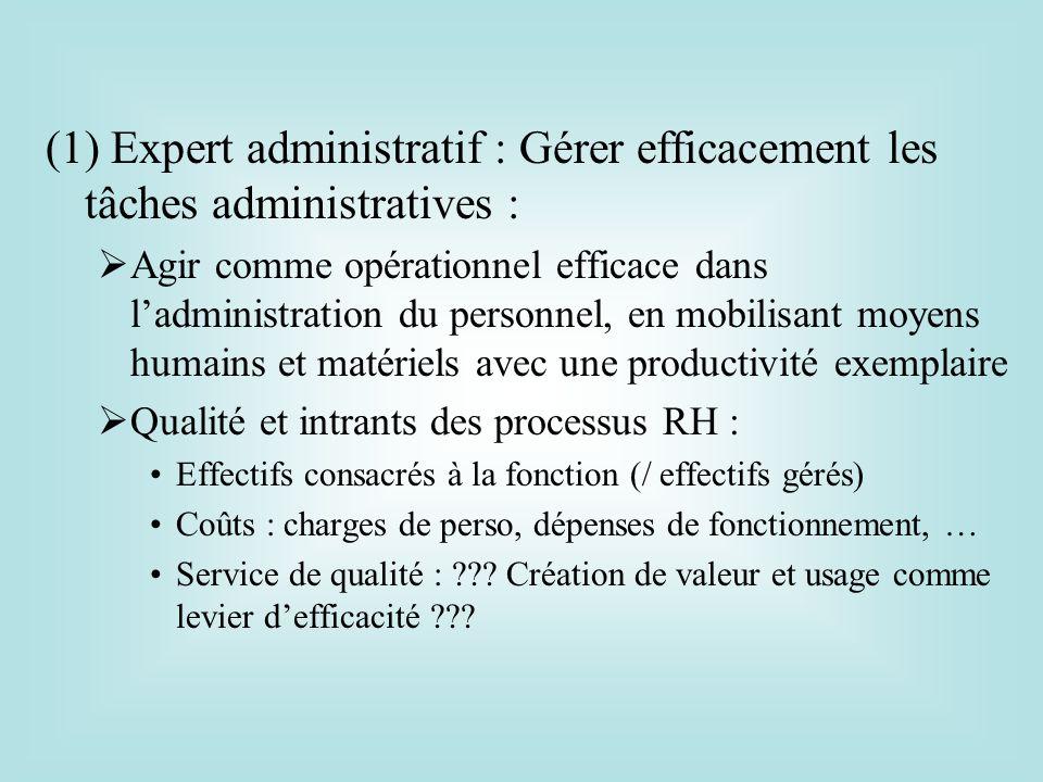 (1) Expert administratif : Gérer efficacement les tâches administratives : Agir comme opérationnel efficace dans ladministration du personnel, en mobi