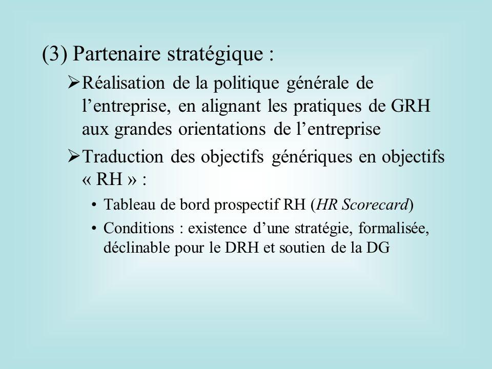 (3) Partenaire stratégique : Réalisation de la politique générale de lentreprise, en alignant les pratiques de GRH aux grandes orientations de lentrep
