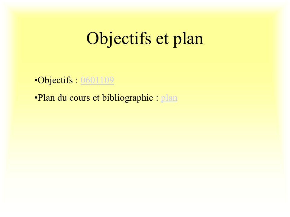 Objectifs et plan Objectifs : 06011090601109 Plan du cours et bibliographie : planplan
