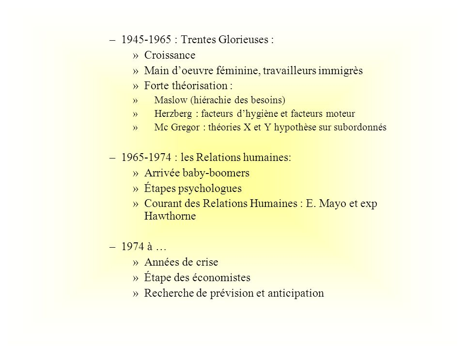 –1945-1965 : Trentes Glorieuses : »Croissance »Main doeuvre féminine, travailleurs immigrès »Forte théorisation : » Maslow (hiérachie des besoins) » H