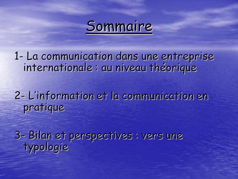 Sommaire 1- La communication dans une entreprise internationale : au niveau théorique 2- Linformation et la communication en pratique 3- Bilan et pers