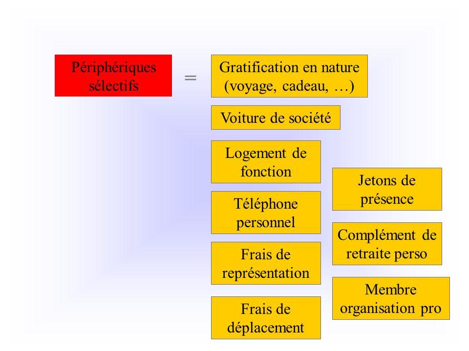 Gratification en nature (voyage, cadeau, …) Périphériques sélectifs = Voiture de société Logement de fonction Frais de représentation Téléphone person