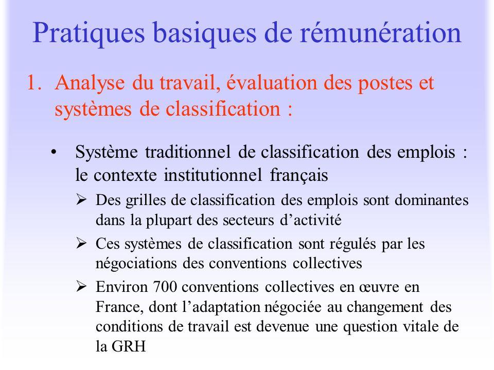 1.Analyse du travail, évaluation des postes et systèmes de classification : Système traditionnel de classification des emplois : le contexte instituti