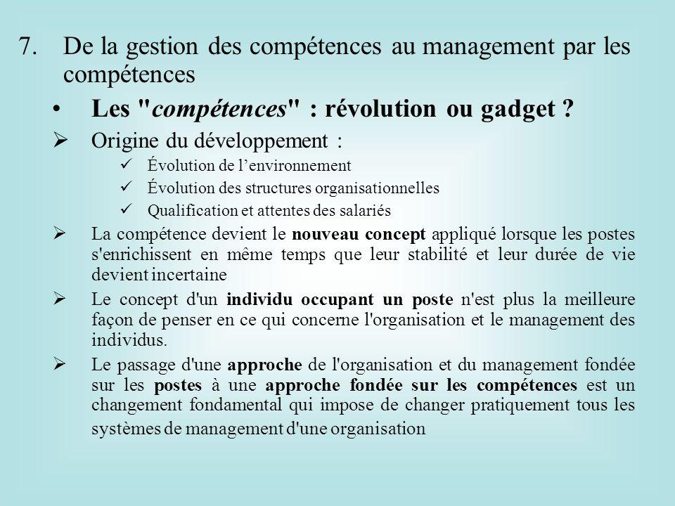 7.De la gestion des compétences au management par les compétences Les