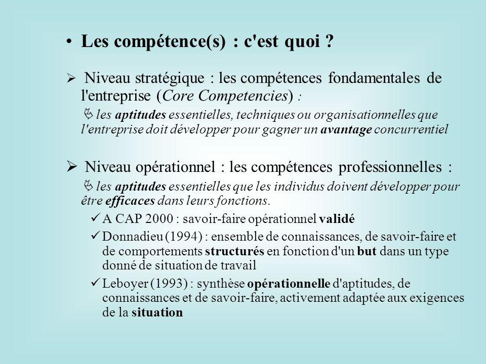 Les compétence(s) : c'est quoi ? Niveau stratégique : les compétences fondamentales de l'entreprise (Core Competencies) : les aptitudes essentielles,
