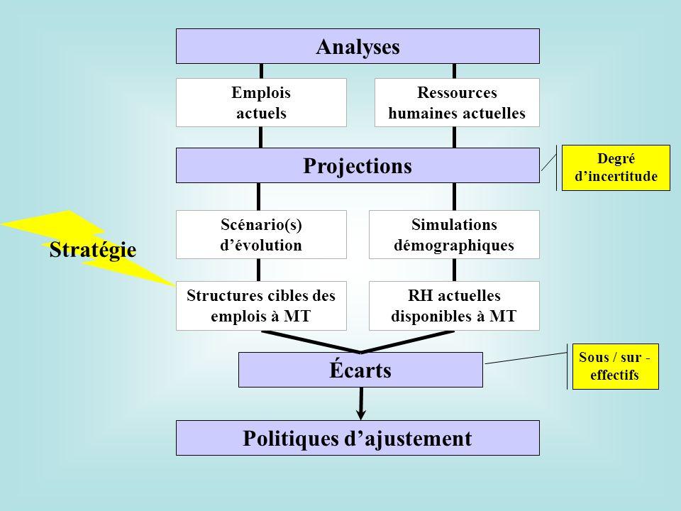 Analyses Projections Écarts Emplois actuels Ressources humaines actuelles Scénario(s) dévolution Simulations démographiques Structures cibles des empl