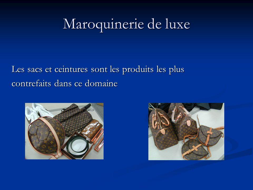 Maroquinerie de luxe Les sacs et ceintures sont les produits les plus contrefaits dans ce domaine