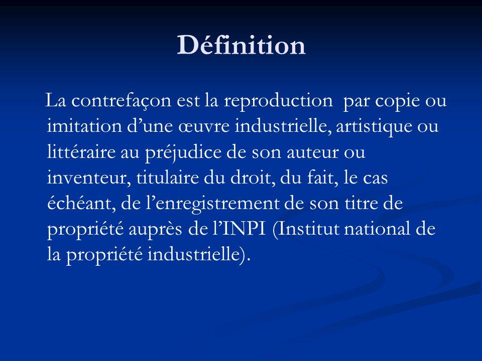 Définition La contrefaçon est la reproduction par copie ou imitation dune œuvre industrielle, artistique ou littéraire au préjudice de son auteur ou i