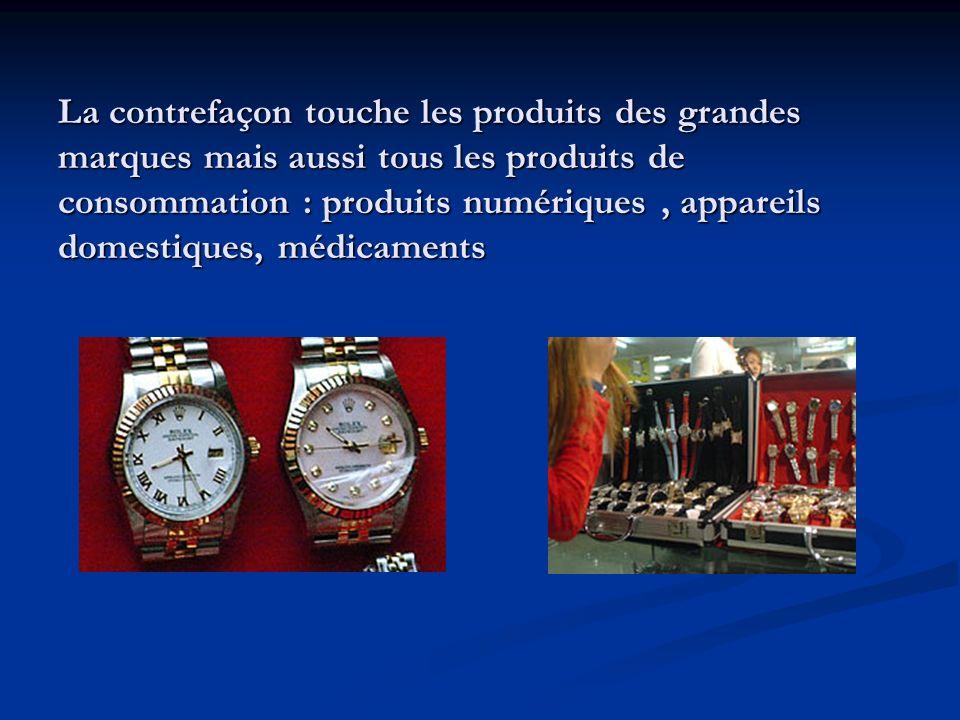 La contrefaçon touche les produits des grandes marques mais aussi tous les produits de consommation : produits numériques, appareils domestiques, médi