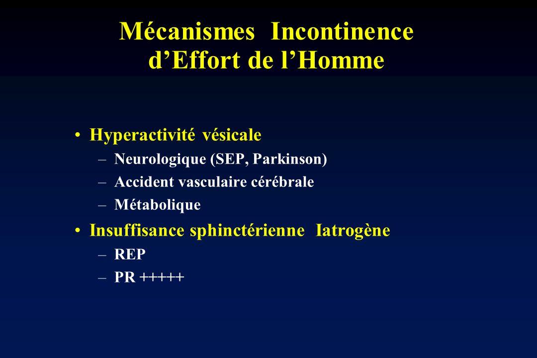 Mécanismes Incontinence dEffort de lHomme Hyperactivité vésicale – Neurologique (SEP, Parkinson) – Accident vasculaire cérébrale – Métabolique Insuffi