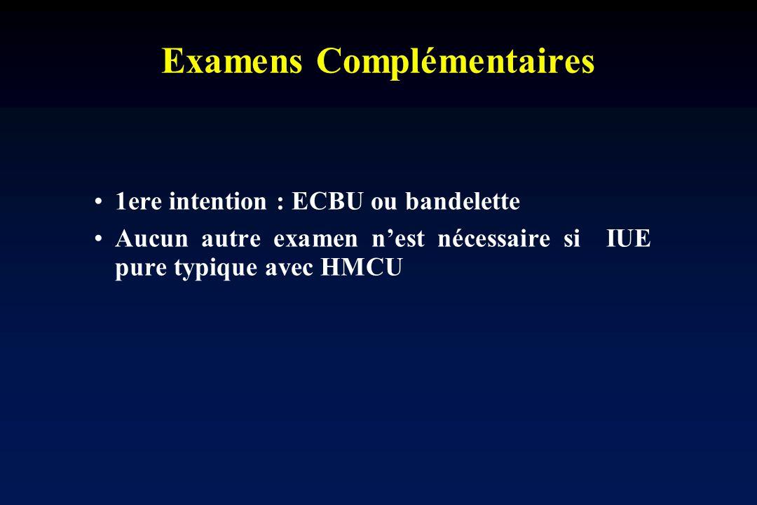 Examens Complémentaires 1ere intention : ECBU ou bandelette Aucun autre examen nest nécessaire si IUE pure typique avec HMCU