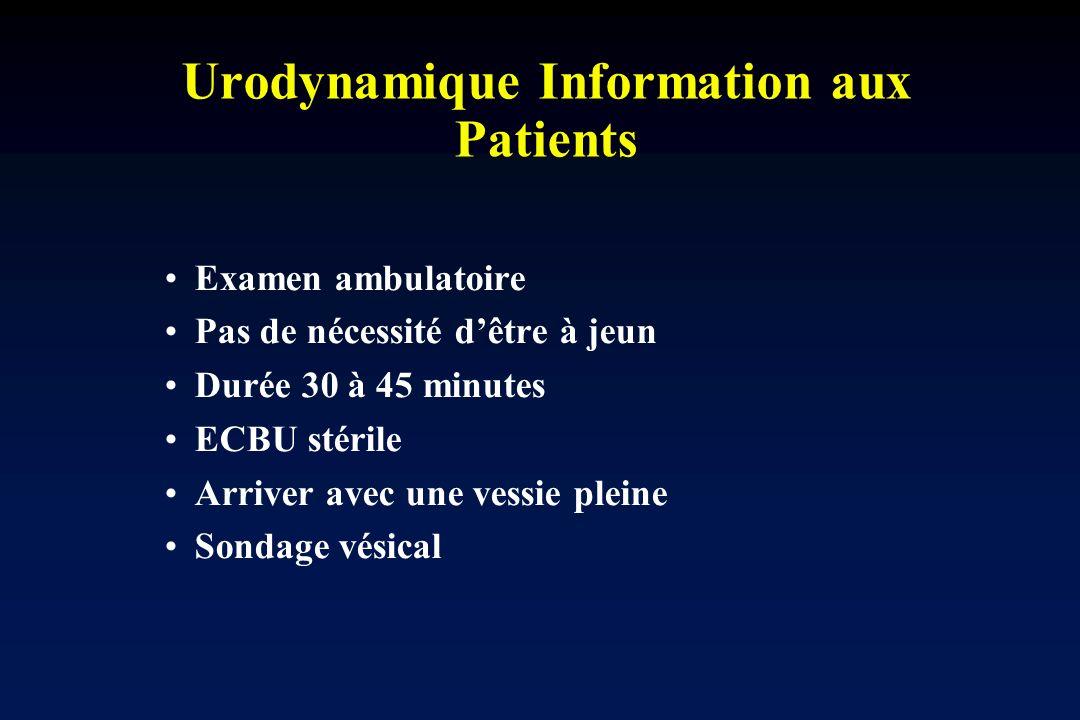 Urodynamique Information aux Patients Examen ambulatoire Pas de nécessité dêtre à jeun Durée 30 à 45 minutes ECBU stérile Arriver avec une vessie plei