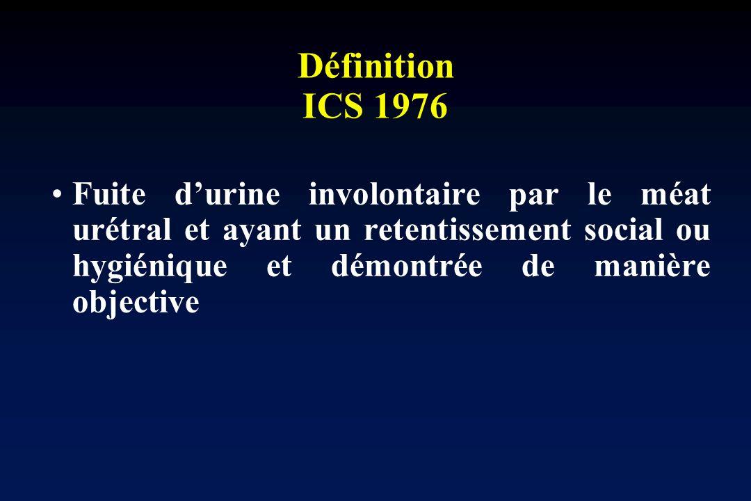 Définition ICS 1976 Fuite durine involontaire par le méat urétral et ayant un retentissement social ou hygiénique et démontrée de manière objective