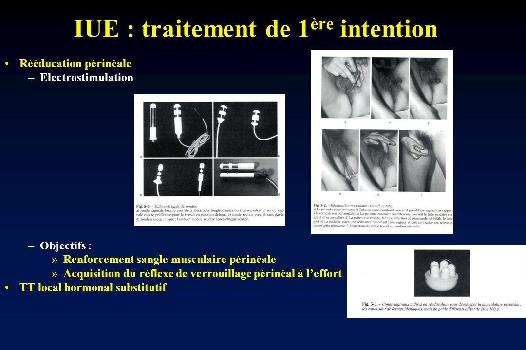 IUE : traitement de 1 ère intention Rééducation périnéale –Electrostimulation –Objectifs : »Renforcement sangle musculaire périnéale »Acquisition du r