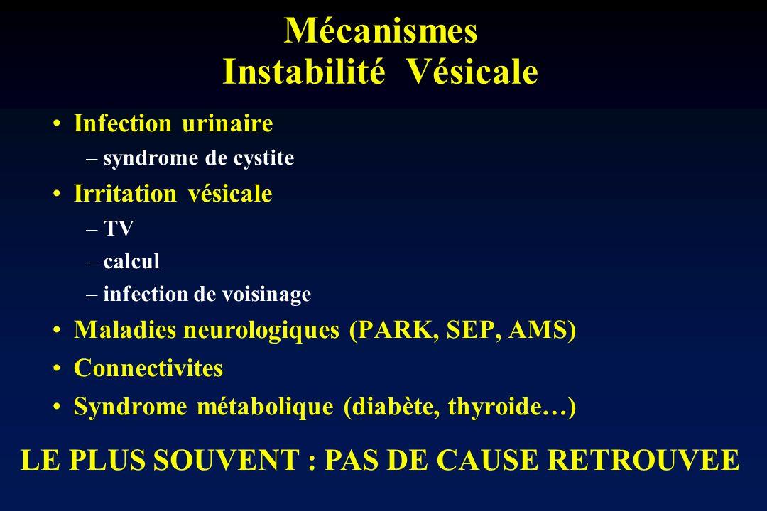 Mécanismes Instabilité Vésicale Infection urinaire –syndrome de cystite Irritation vésicale –TV –calcul –infection de voisinage Maladies neurologiques