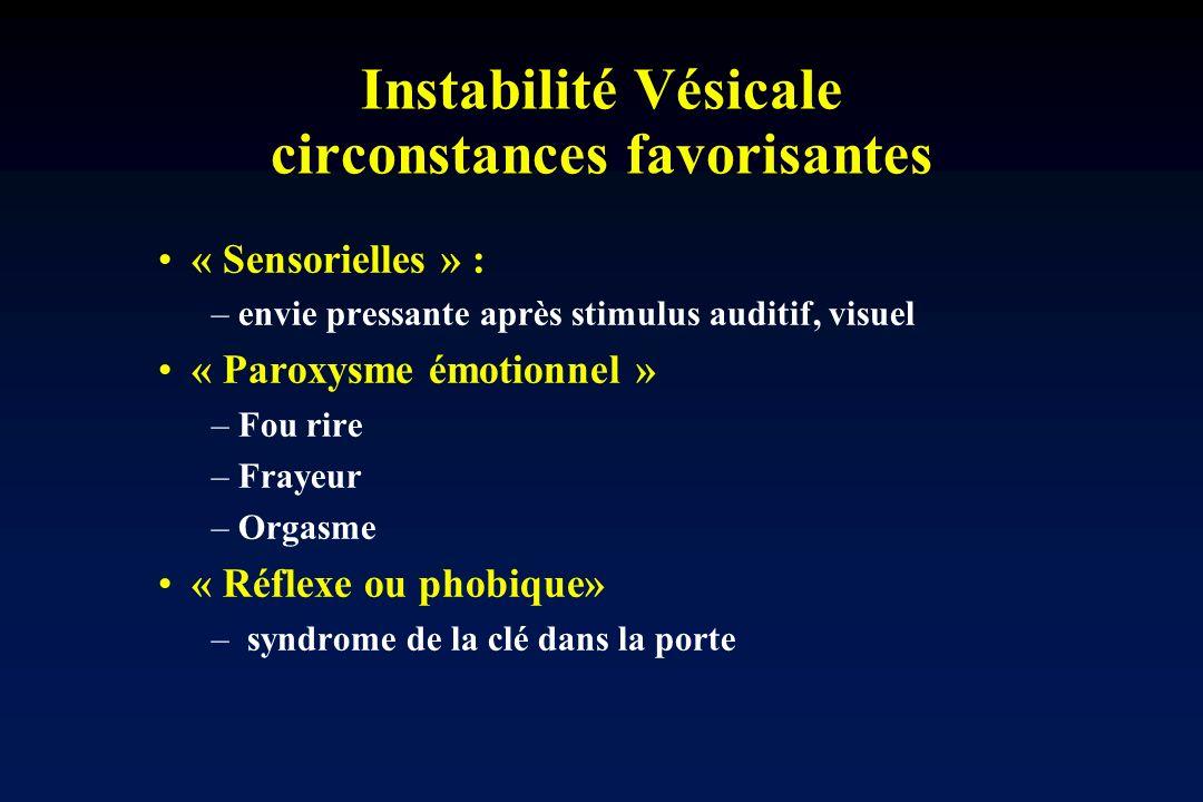 Instabilité Vésicale circonstances favorisantes « Sensorielles » : –envie pressante après stimulus auditif, visuel « Paroxysme émotionnel » –Fou rire