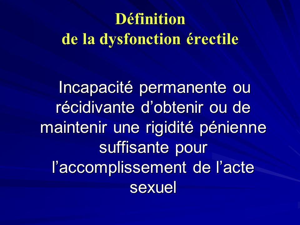 Définition de la dysfonction érectile Incapacité permanente ou récidivante dobtenir ou de maintenir une rigidité pénienne suffisante pour laccomplisse