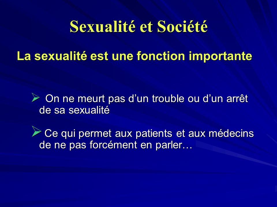 Sexualité et Société La sexualité est une fonction importante On ne meurt pas dun trouble ou dun arrêt de sa sexualité On ne meurt pas dun trouble ou