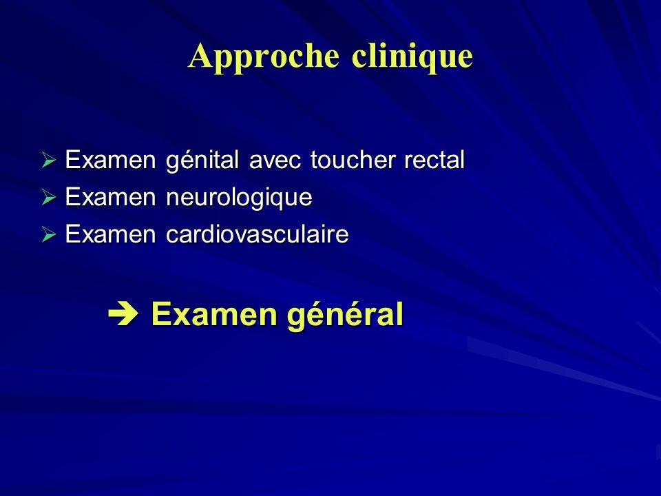 Approche clinique Examen génital avec toucher rectal Examen génital avec toucher rectal Examen neurologique Examen neurologique Examen cardiovasculair