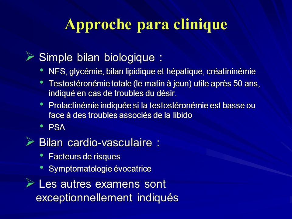 Approche para clinique Simple bilan biologique : Simple bilan biologique : NFS, glycémie, bilan lipidique et hépatique, créatininémie NFS, glycémie, b