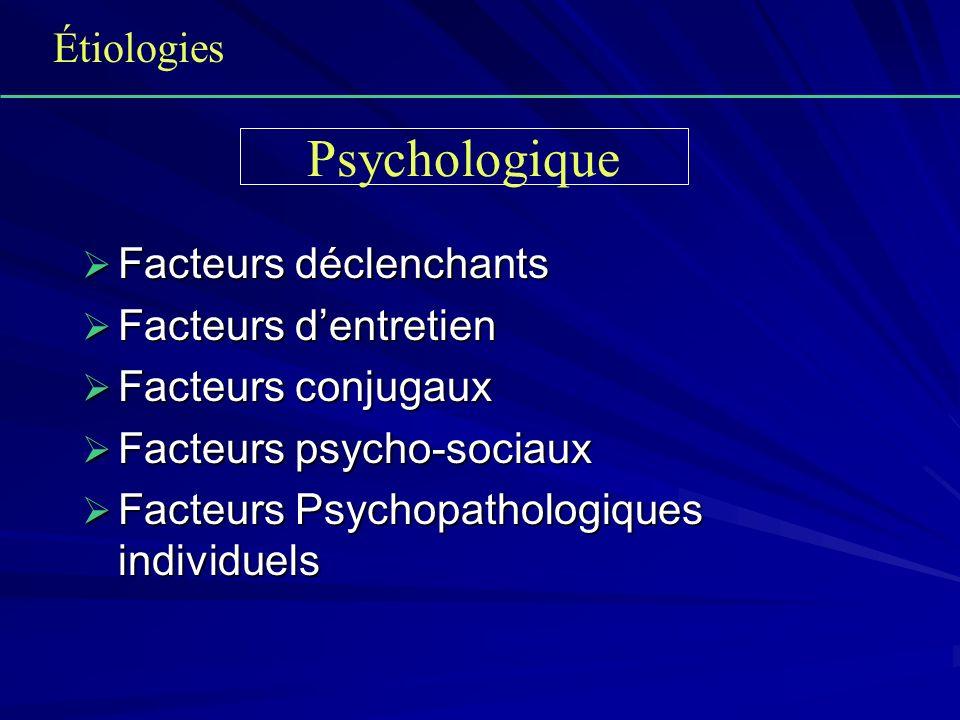 Facteurs déclenchants Facteurs déclenchants Facteurs dentretien Facteurs dentretien Facteurs conjugaux Facteurs conjugaux Facteurs psycho-sociaux Fact