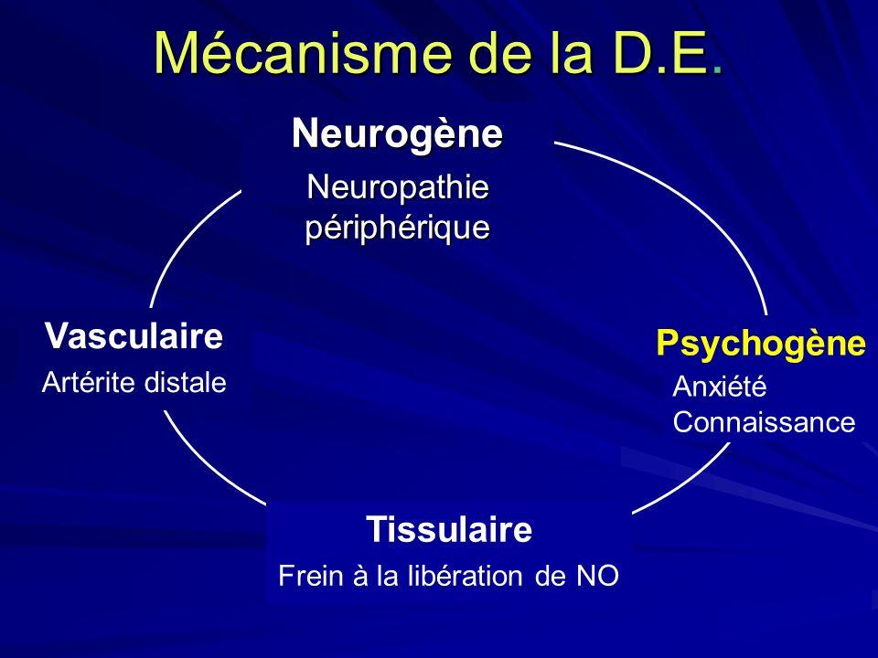 Mécanisme de la D.E. Neurogène Neuropathie périphérique Vasculaire Artérite distale Anxiété Connaissance Psychogène Tissulaire Frein à la libération d