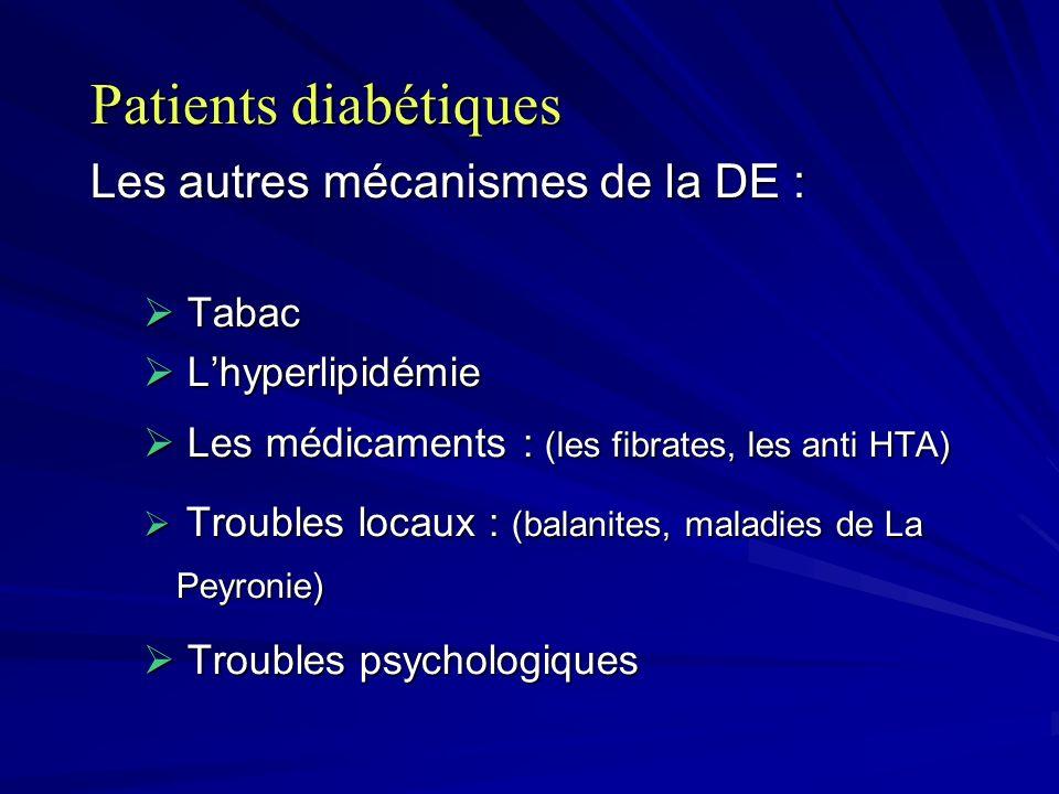 Patients diabétiques Les autres mécanismes de la DE : Tabac Tabac Lhyperlipidémie Lhyperlipidémie Les médicaments : (les fibrates, les anti HTA) Les m