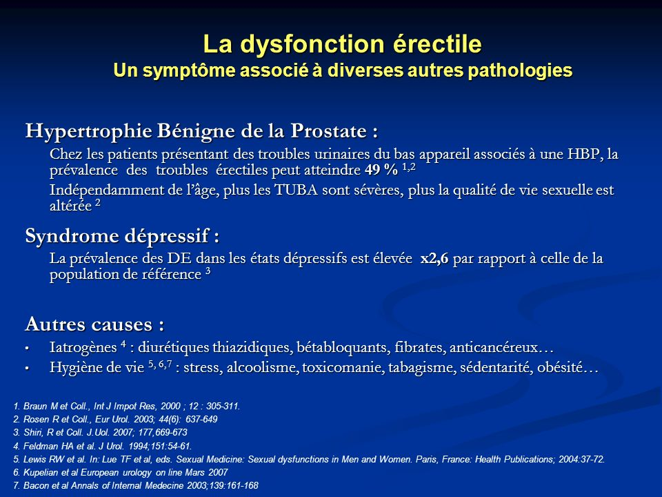 Hypertrophie Bénigne de la Prostate : Chez les patients présentant des troubles urinaires du bas appareil associés à une HBP, la prévalence des troubl