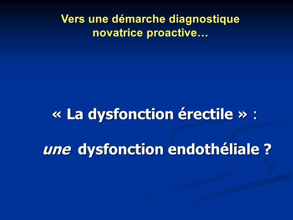 « La dysfonction érectile » : une dysfonction endothéliale ? une dysfonction endothéliale ? Vers une démarche diagnostique novatrice proactive…