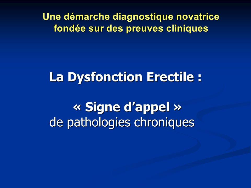 La Dysfonction Erectile : « Signe dappel » « Signe dappel » de pathologies chroniques de pathologies chroniques Une démarche diagnostique novatrice fo