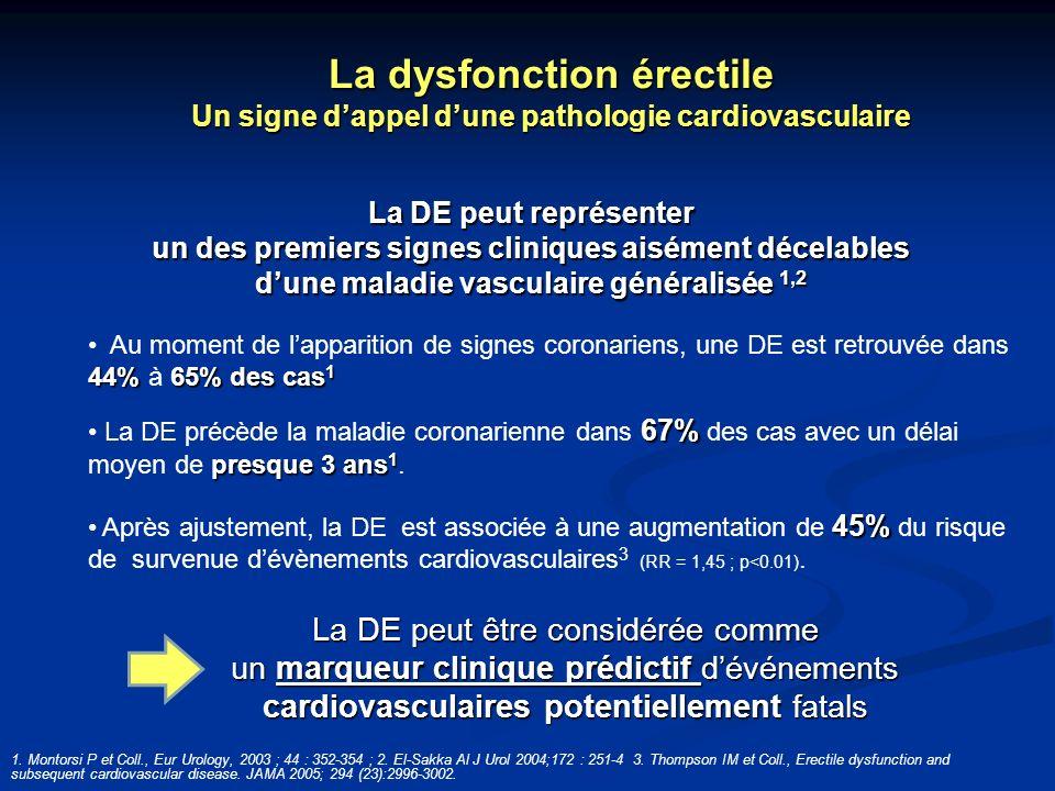 La DE peut représenter un des premiers signes cliniques aisément décelables dune maladie vasculaire généralisée 1,2 44%65% des cas 1 Au moment de lapp
