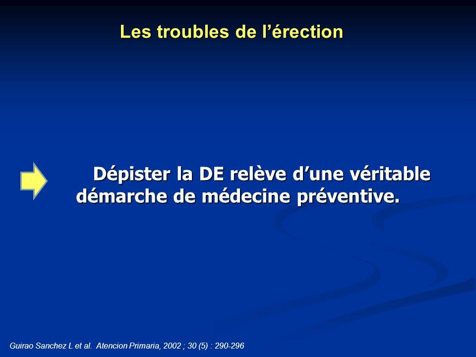 Dépister la DE relève dune véritable démarche de médecine préventive. Les troubles de lérection Guirao Sanchez L et al. Atencion Primaria, 2002 ; 30 (