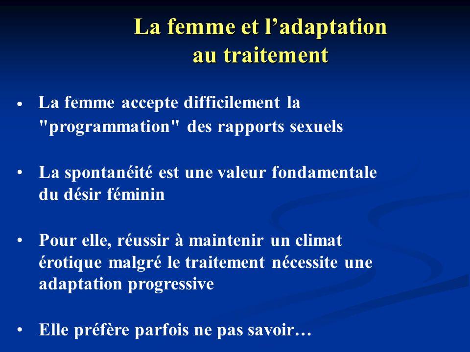 La femme et ladaptation au traitement La femme accepte difficilement la