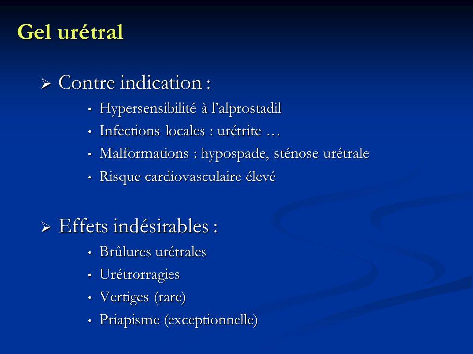 Gel urétral Contre indication : Contre indication : Hypersensibilité à lalprostadil Hypersensibilité à lalprostadil Infections locales : urétrite … In