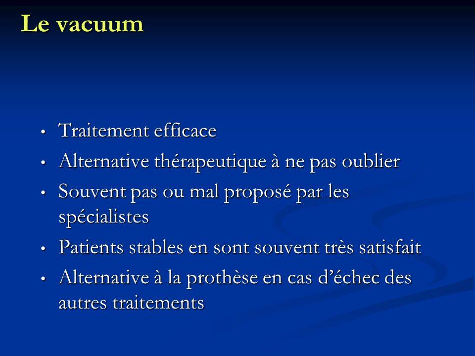 Le vacuum Traitement efficace Traitement efficace Alternative thérapeutique à ne pas oublier Alternative thérapeutique à ne pas oublier Souvent pas ou