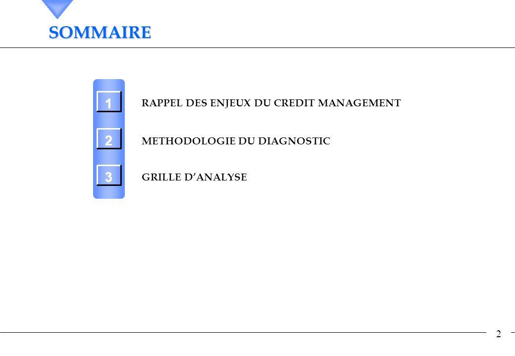 2 SOMMAIRESOMMAIRE RAPPEL DES ENJEUX DU CREDIT MANAGEMENT METHODOLOGIE DU DIAGNOSTIC GRILLE DANALYSE 1 2 3