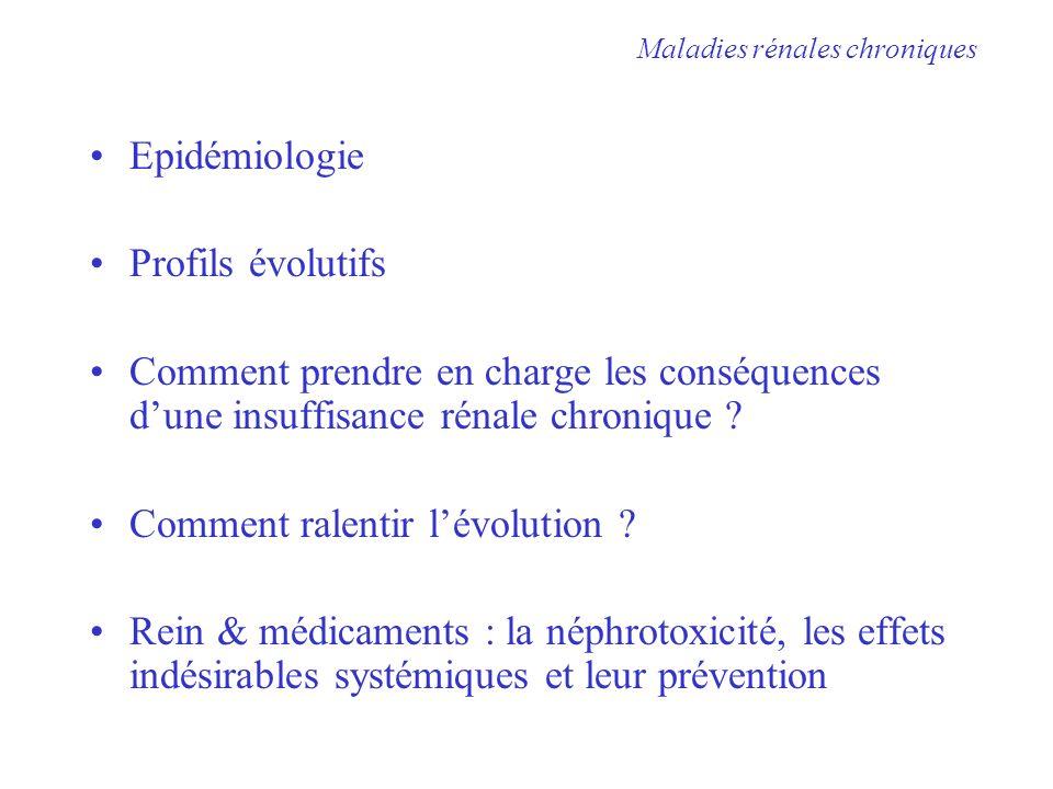 Epidémiologie Profils évolutifs Comment prendre en charge les conséquences dune insuffisance rénale chronique ? Comment ralentir lévolution ? Rein & m