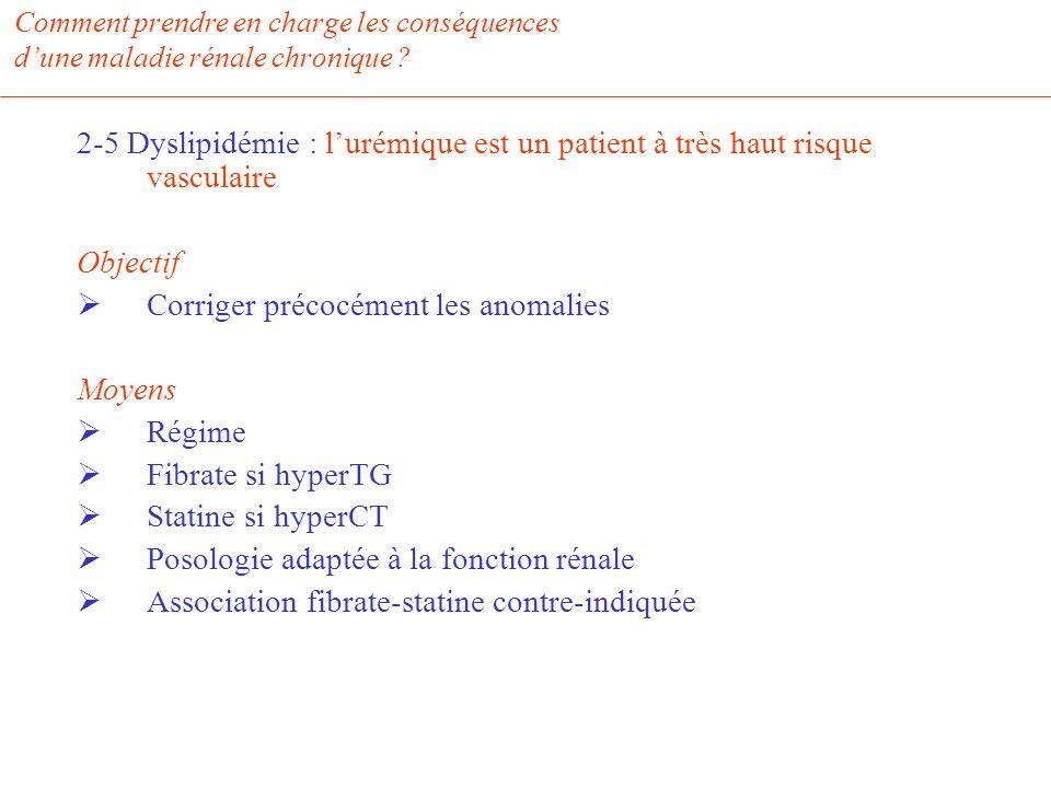 Comment prendre en charge les conséquences dune maladie rénale chronique ? 2-5 Dyslipidémie : lurémique est un patient à très haut risque vasculaire O