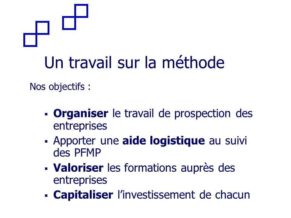 Un travail sur la méthode Nos objectifs : Organiser le travail de prospection des entreprises Apporter une aide logistique au suivi des PFMP Valoriser