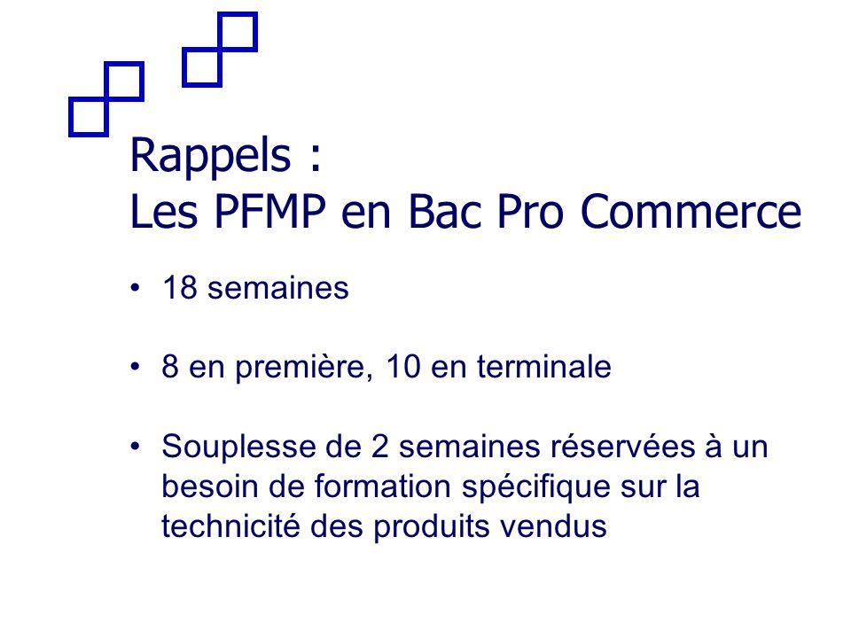 Rappels : Les PFMP en Bac Pro Commerce 18 semaines 8 en première, 10 en terminale Souplesse de 2 semaines réservées à un besoin de formation spécifiqu