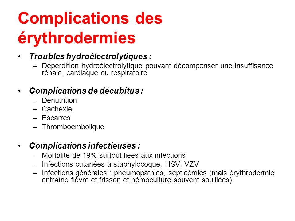 Complications des érythrodermies Troubles hydroélectrolytiques : –Déperdition hydroélectrolytique pouvant décompenser une insuffisance rénale, cardiaq