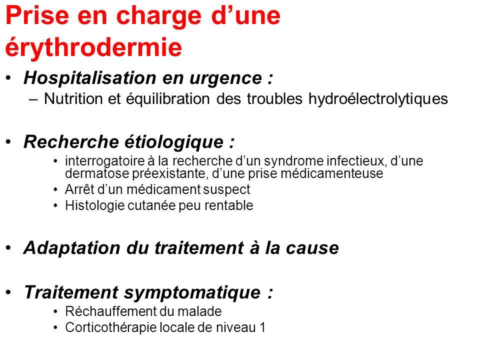 Prise en charge dune érythrodermie Hospitalisation en urgence : –Nutrition et équilibration des troubles hydroélectrolytiques Recherche étiologique :