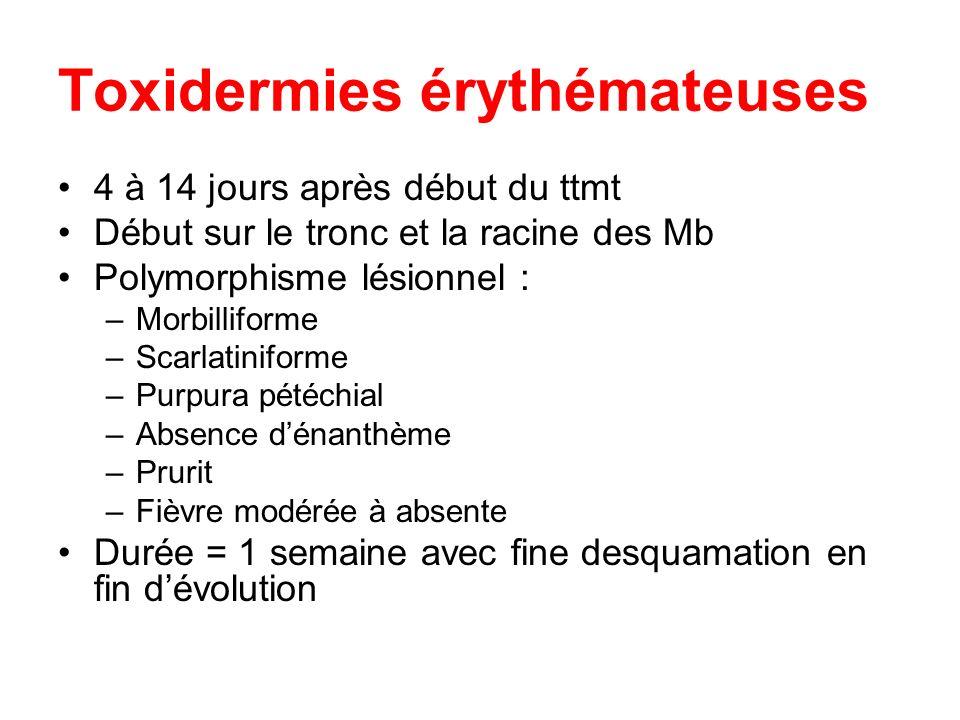 Toxidermies érythémateuses 4 à 14 jours après début du ttmt Début sur le tronc et la racine des Mb Polymorphisme lésionnel : –Morbilliforme –Scarlatin