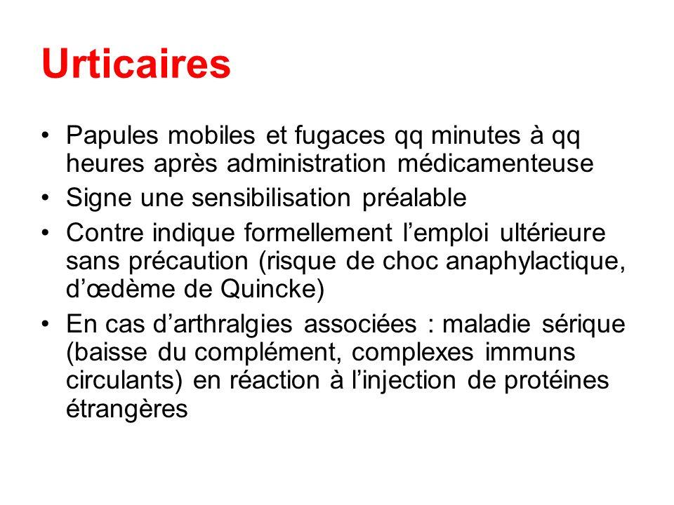 Urticaires Papules mobiles et fugaces qq minutes à qq heures après administration médicamenteuse Signe une sensibilisation préalable Contre indique fo