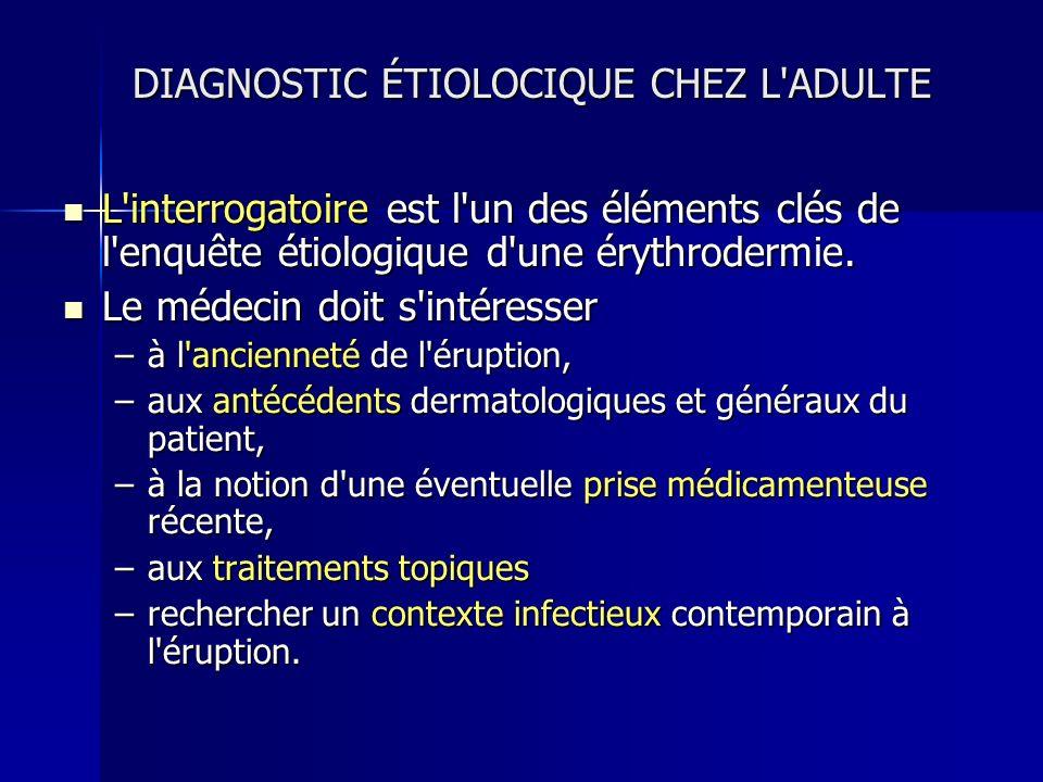 DIAGNOSTIC ÉTIOLOCIQUE CHEZ L'ADULTE L'interrogatoire est l'un des éléments clés de l'enquête étiologique d'une érythrodermie. L'interrogatoire est l'