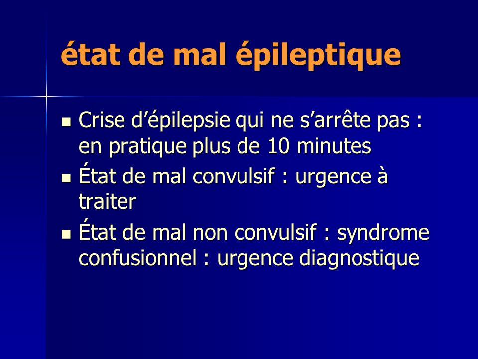 état de mal épileptique Crise dépilepsie qui ne sarrête pas : en pratique plus de 10 minutes Crise dépilepsie qui ne sarrête pas : en pratique plus de