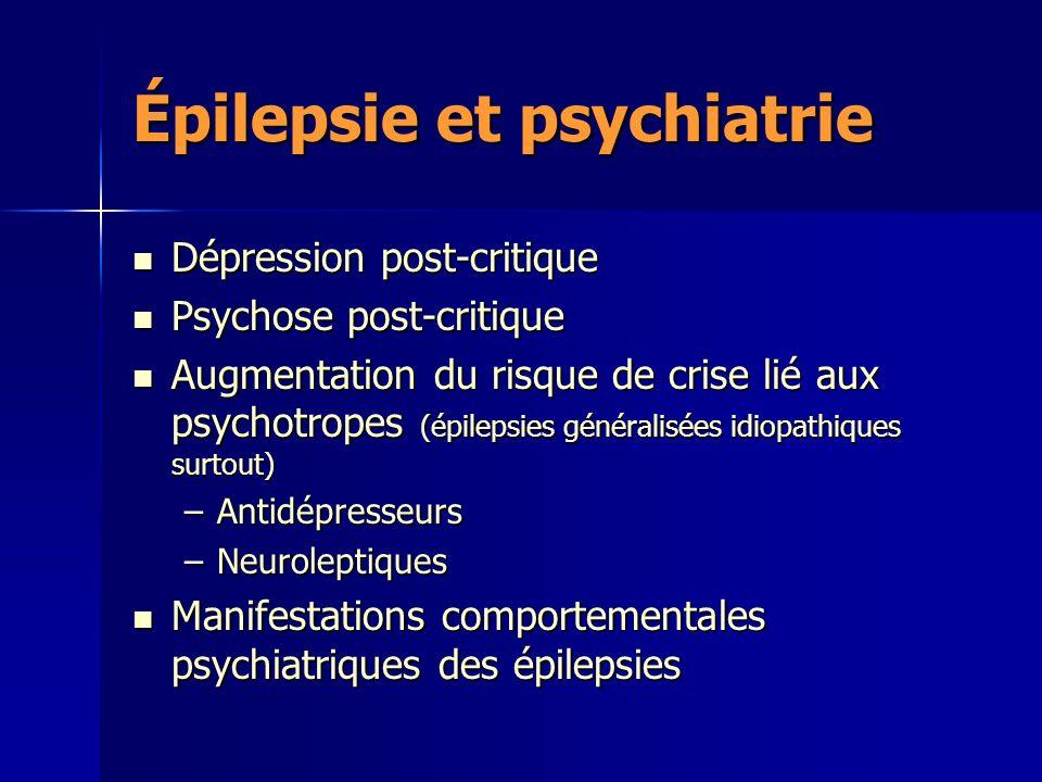 Épilepsie et psychiatrie Dépression post-critique Dépression post-critique Psychose post-critique Psychose post-critique Augmentation du risque de cri