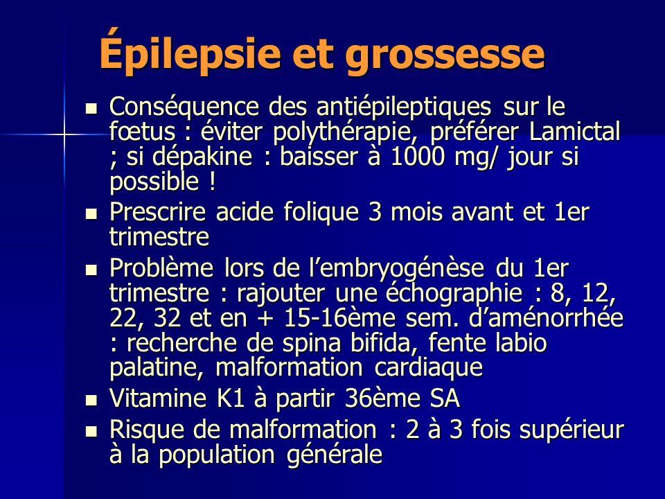Épilepsie et grossesse Conséquence des antiépileptiques sur le fœtus : éviter polythérapie, préférer Lamictal ; si dépakine : baisser à 1000 mg/ jour si possible .